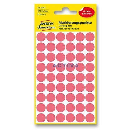 Obrázek produktu Avery Zweckform - kulaté etikety - průměr 12 mm, 270 etiket, červené neon