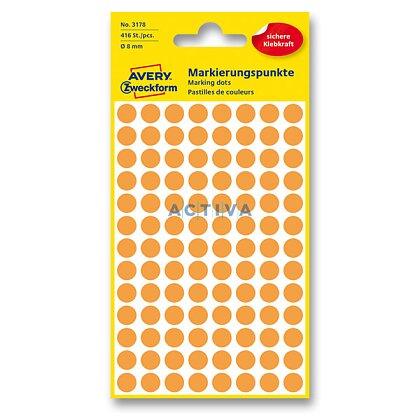 Obrázek produktu Avery Zweckform - kulaté etikety - průměr 8 mm, 416 etiket, oranžové neon