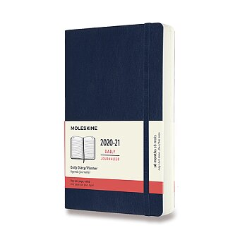 Obrázek produktu 18měsíční diář Moleskine 2020-21 - měkké desky - L, denní, modrý