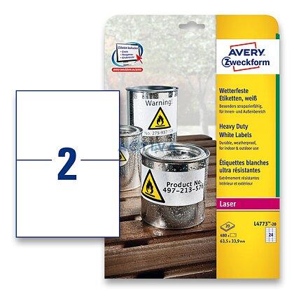 Obrázek produktu Avery Zweckform - samolepicí bílé PET etikety - 210,0 x 148,0 mm, 40 etiket