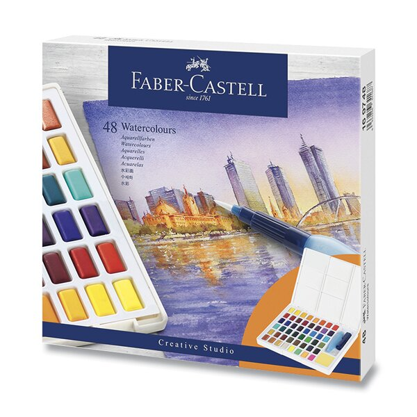 Vodové barvy Faber-Castell s paletkou 48 barev