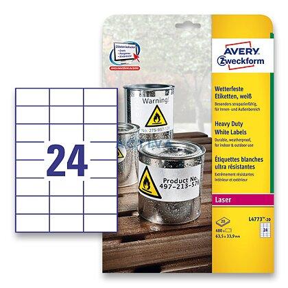 Obrázek produktu Avery Zweckform - samolepicí bílé PET etikety - 70,0 x 37,0 mm, 480 etiket