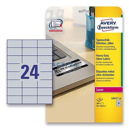 Obrázek produktu Avery Zweckform - stříbrné PET etikety - 70,0 x 37,0 mm, 480 etiket