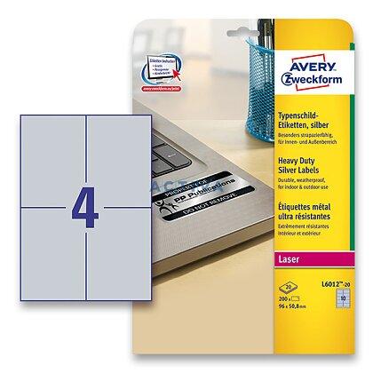 Obrázek produktu Avery Zweckform - stříbrné PET etikety - 105,0 x 148,0 mm, 80 etiket