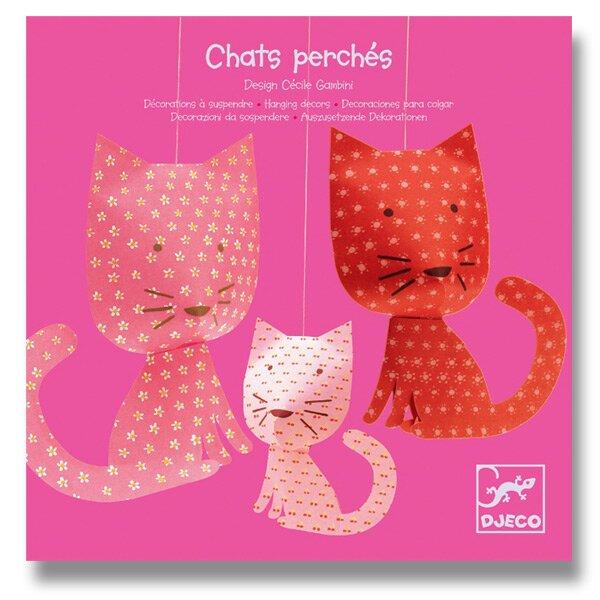 Závěsná dekorace Djeco - Růžové kočky