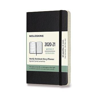 Obrázek produktu 18měsíční diář Moleskine 2020-21 - měkké desky - S, týdenní, černý