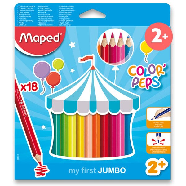 Pastelky Maped Color'Peps Jumbo 18 barev, trojhranné