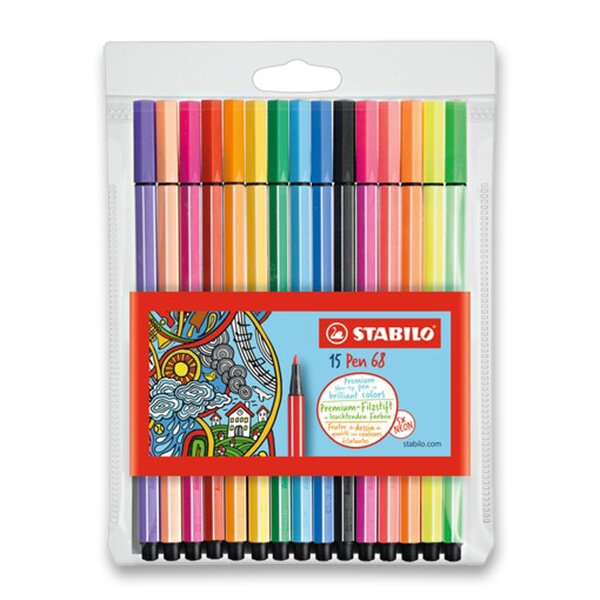 Fixy Stabilo Pen 68 10 + 5 neon barev