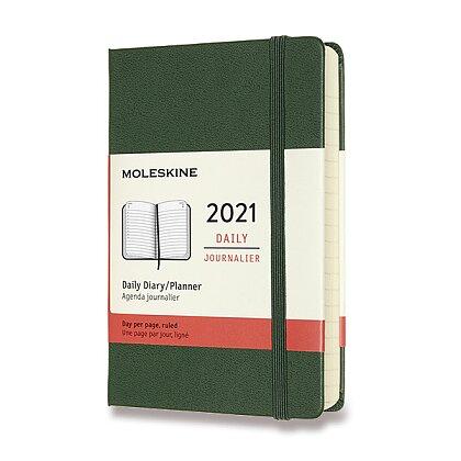 Obrázek produktu Moleskine 2021 - diář v tvrdých deskách - velikost S, denní, tmavě zelený