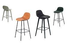 Barová židle s opěrkou Muuto Fiber Bar Stool