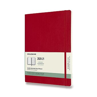 Obrázek produktu 18měsíční diář Moleskine 2020-21 - měkké desky - XL, týdenní, červený