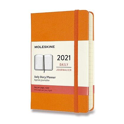 Obrázek produktu Moleskine 2021 - diář v tvrdých deskách - velikost S, denní, oranžový