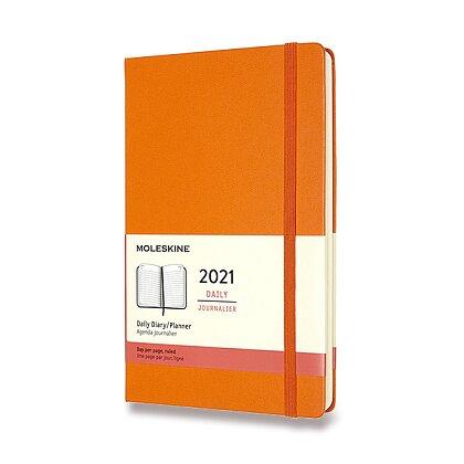 Obrázek produktu Moleskine 2021 - diář v tvrdých deskách - velikost L, denní, oranžový