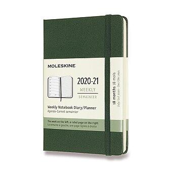 Obrázek produktu 18měsíční diář Moleskine 2020-21 - tvrdé desky - S, týdenní, tm.zelený