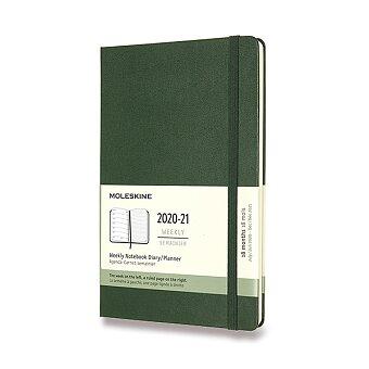 Obrázek produktu 18měsíční diář Moleskine 2020-21 - tvrdé desky - L, týdenní, tm.zelený