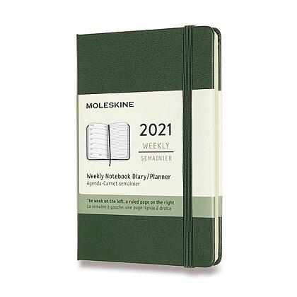 Obrázek produktu Moleskine 2021 - diář v tvrdých deskách - velikost S, týdenní, tmavě zelený