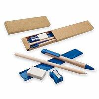 MILLET - sada kuličkového pera, tužky, pravítka, ořezávátka a gumy, tmavě modrá