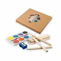 OSTADE - sada dřevěných pastelek, vodových barev, štětce a ořezávátka
