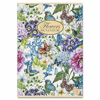 Obrázek produktu Školní sešit Pigna Nature Flowers - A4, čistý, 40 listů, mix motivů