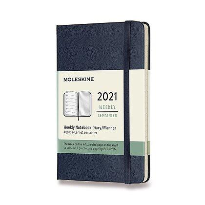 Obrázek produktu Moleskine 2021 - diář v tvrdých deskách - velikost S, týdenní, modrý