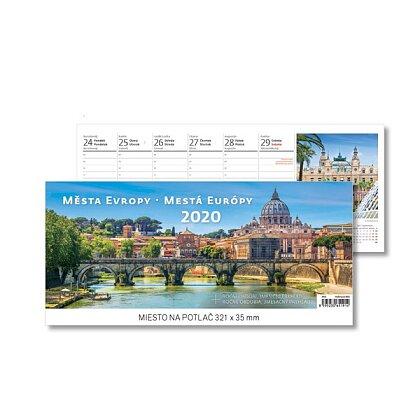 Obrázok produktu Mestá Európy 2020 - stolový obrázkový kalendár - 321 x 134 mm, 60 + 2 strán