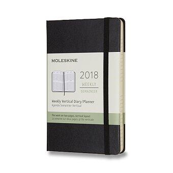 Obrázek produktu Diář Moleskine 2018 - tvrdé desky - S, vertikální týdenní, černý