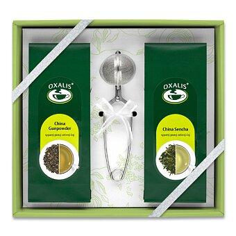 Obrázek produktu Sada sypaných zelelných čajů Oxalis se sítkem - 2 x 50 g + sítko na čaj