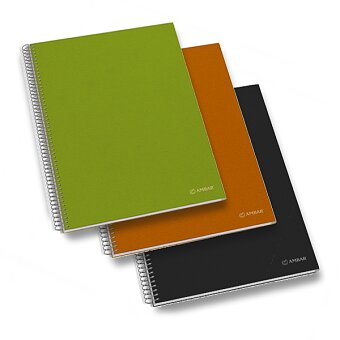 Obrázek produktu Kroužkový blok Ambar Kraft - mix barev - A4, čtverečkovaný, 150 listů