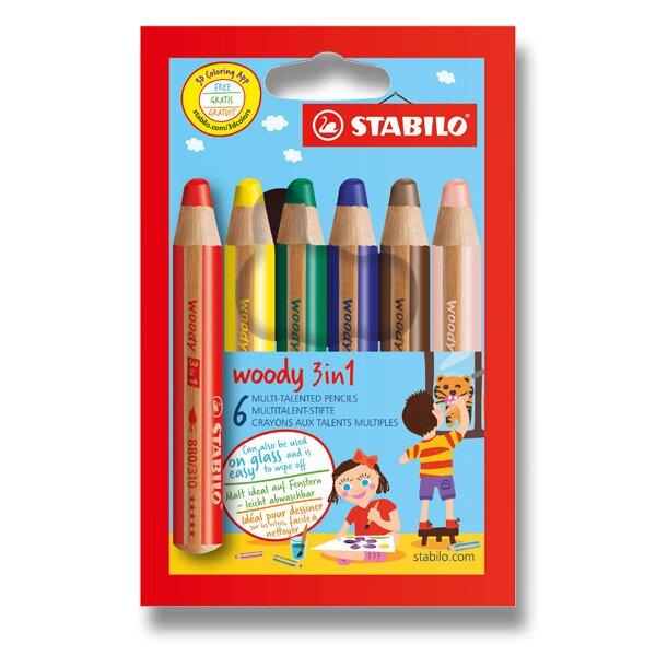 Pastelky Stabilo Woody 3 in 1 6 barev Stabilo