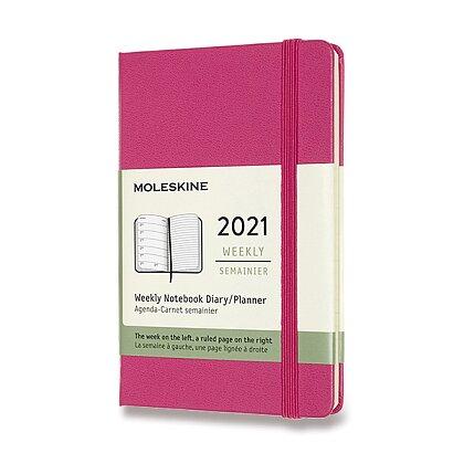Obrázek produktu Moleskine 2021 - diář v tvrdých deskách - velikost S, týdenní, magenta