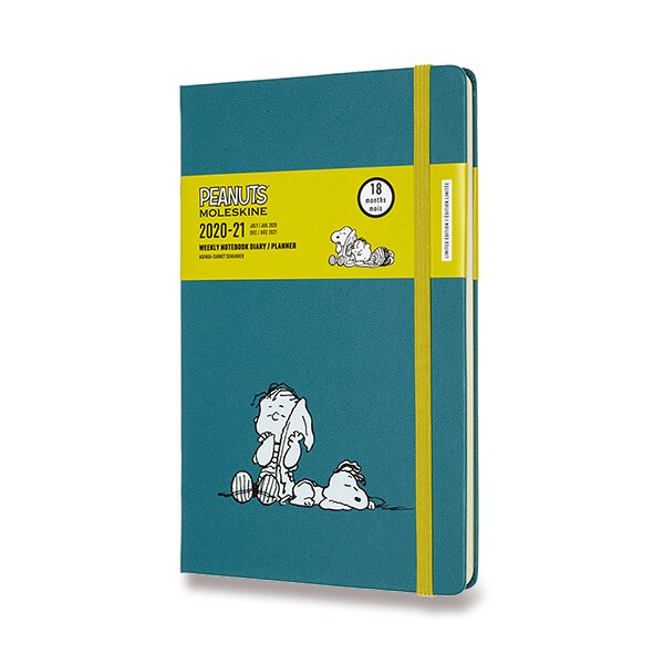 18měsíční diář Moleskine 2020-21 Peanuts, tvrdé desky L, týdenní, modrý