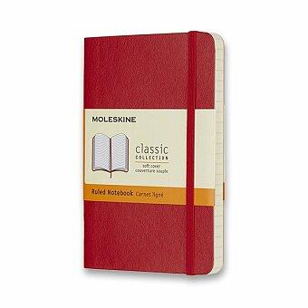 Obrázek produktu Zápisník Moleskine - měkké desky - S, linkovaný, červený