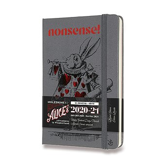 Obrázek produktu 18měsíční diář Moleskine 2020-21 Alice In Wonderland, tvrdé desky - S, týdenní, šedý
