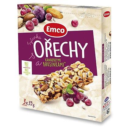 Obrázek produktu Emco - ořechové tyčinky - Ořechy a brusinka, 3 ks