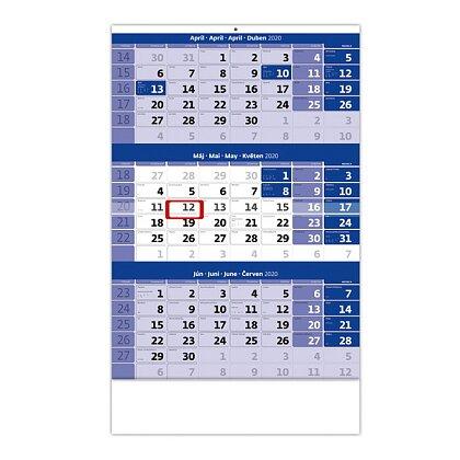 Obrázok produktu Trojmesačný kalendár 2020 - nástenný pracovný kalendár - 315 x 450 mm, 12 listov, modrý