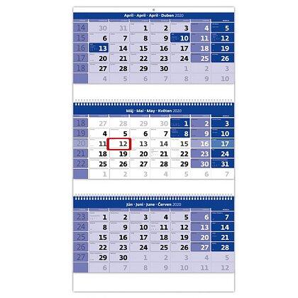 Obrázok produktu Trojmesačný kalendár so špirálou 2020 - nástenný pracovný kalendár - 315 x 555 + 180 mm, 3 x 12 listov, modrý