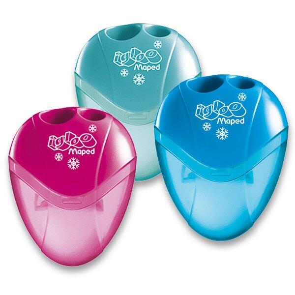 Ořezávátko Maped I-gloo - s odpadní nádobkou 2 otvory, blistr, mix barev