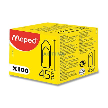 Obrázek produktu Maped Standard Clips - kancelářské ocelové sponky - 45 mm, 100 ks