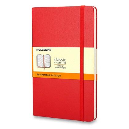 Obrázok produktu Moleskine- zápisník v tvrdých doskách - 13 x 21 cm, linajkový, čiervený