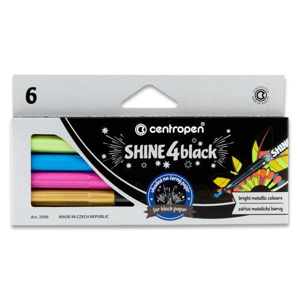 Popisovače Centropen 2590/6 Shine 4 Black 6 metalických barev