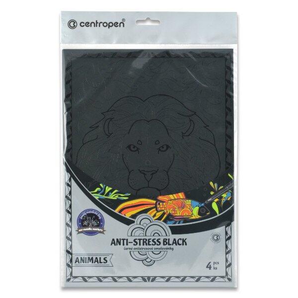 Černé antistresové omalovánky Centropen 9997/4 Animals 4 šablony