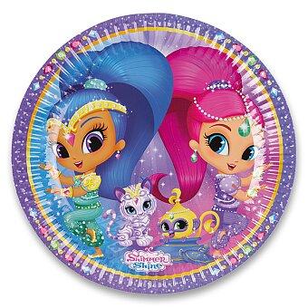 Obrázek produktu Papírové talířky Shimmer & Shine - průměr 23 cm, 8 ks