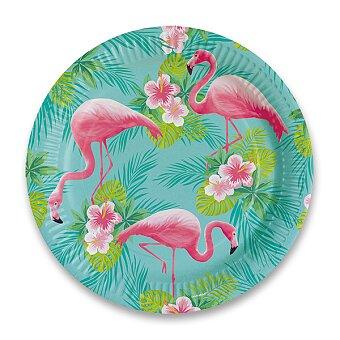 Obrázek produktu Papírové talířky Plameňák - průměr 23 cm, 8 ks