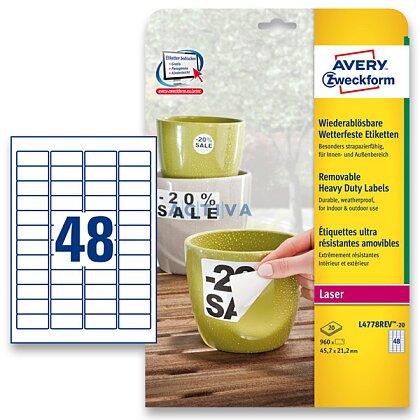 Obrázek produktu Avery Zweckform - nepermanentní PET etikety - 45,7 × 21,2 mm, 960 etiket