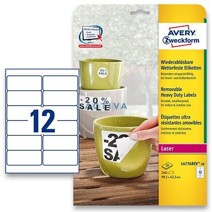 Obrázek produktu Avery Zweckform - nepermanentní PET etikety - 99,1 × 42,3 mm, 240 etiket