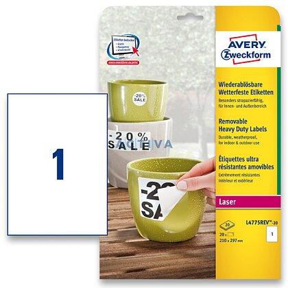 Obrázek produktu Avery Zweckform - nepermanentní PET etikety - 210 × 297 mm, 20 etiket