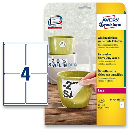 Obrázek produktu Avery Zweckform - nepermanentní PET etikety - 99,1 × 139 mm, 80 etiket