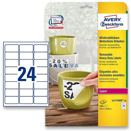 Obrázek produktu Avery Zweckform - nepermanentní PET etikety - 63,5 × 33,9 mm, 480 etiket