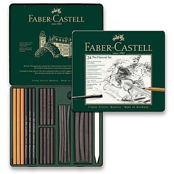 Obrázek produktu Uhel Faber-Castell Pitt Monochrome Charcoal - plechová krabička, 24ks