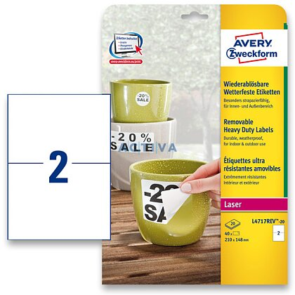 Obrázek produktu Avery Zweckform - nepermanentní PET etikety - 210 × 148 mm, 40 etiket